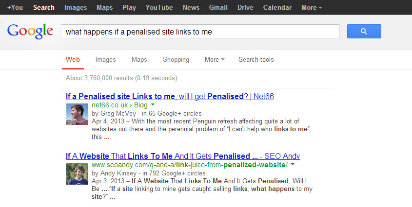What happens if a penalised site links to me?