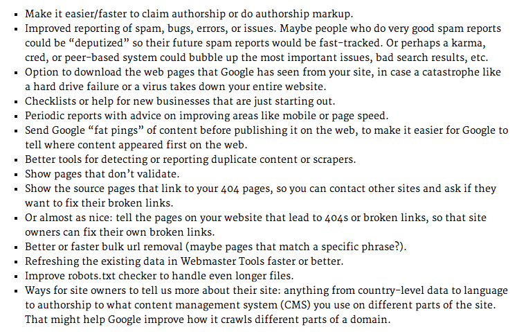 Matt Cutts Webmaster Suggestions