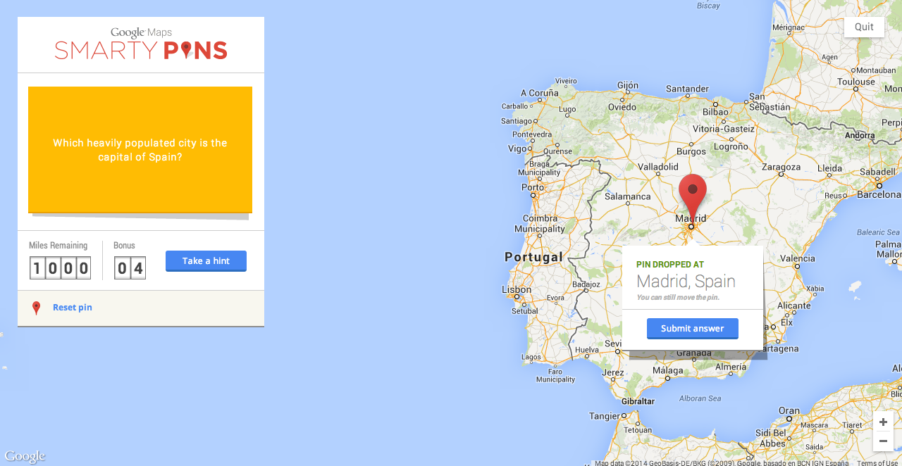 Google Smarty Maps Game