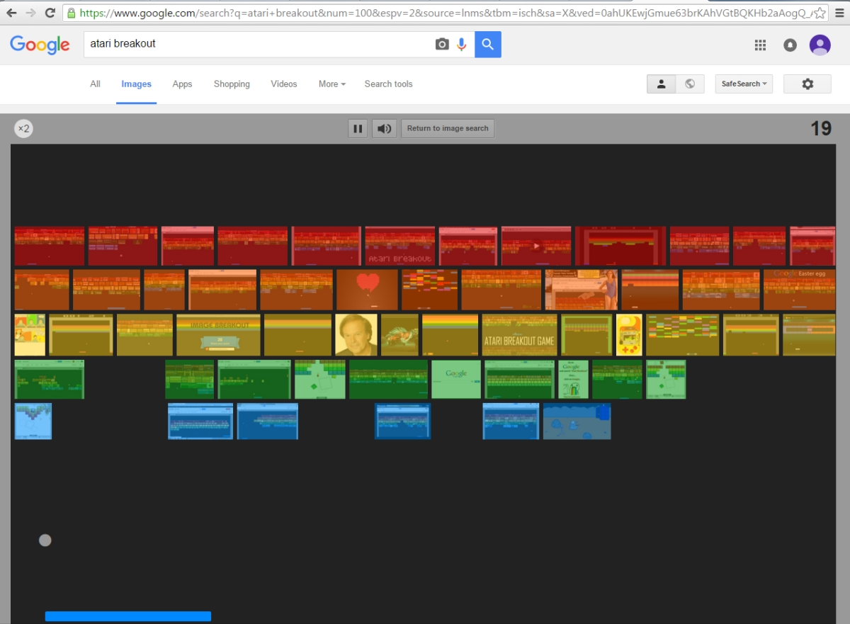 Google's take on Atari Breakout, one of the search engine's best known Easter eggs.