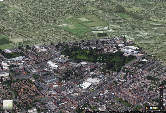 A Google Maps Tilt View of Farnworth and Moses Gate.