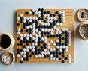 A completed Go board, though not a game between Lee Sedol.