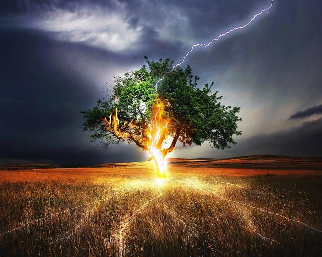 Lightning flash.