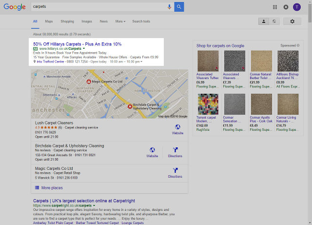 Google Ads carpets results