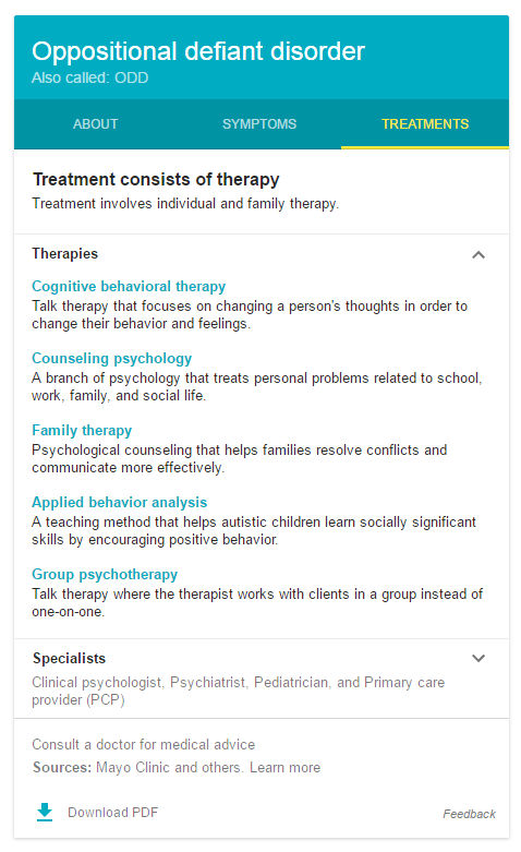 ODD Treatment Therapies tab