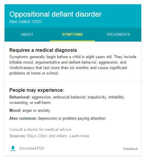ODD Symptoms tab