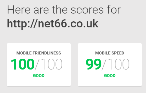net66 new page speed score
